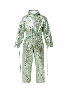 WALTER VAN BEIRENDONCK Hooded Jumpsuit metallic green