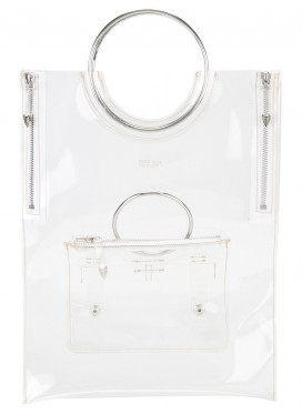 TOGA PULLA circle handle tote bag clear