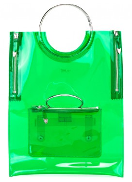 TOGA PULLA circle handle tote bag green