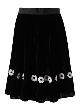 JUPE by JACKIE Floral Embroidery Silk-velvet Skirt black