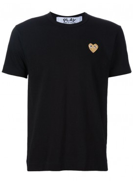 COMME DES GARCONS PLAY T-Shirt Men Black with Gold Heart