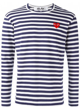 COMME DES GARCONS PLAY T-Shirt Men Navy/White Red Heart