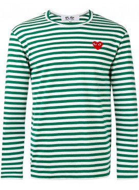 COMME DES GARCONS PLAY T-Shirt Men Green/White Red Heart