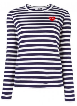 COMME DES GARCONS PLAY T-Shirt Women Navy/White Red Heart