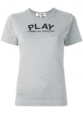 COMME DES GARCONS PLAY T-Shirt Men with Play Logo grey Black Heart