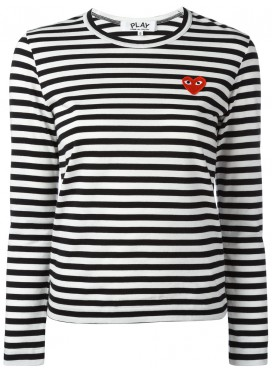 COMME DES GARCONS PLAY T-Shirt Women Black/White Red Heart