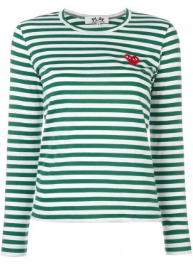 COMME DES GARCONS PLAY T-Shirt Women Green/White Red Heart