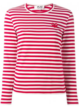 COMME DES GARCONS PLAY T-Shirt Women Red/White Red Heart