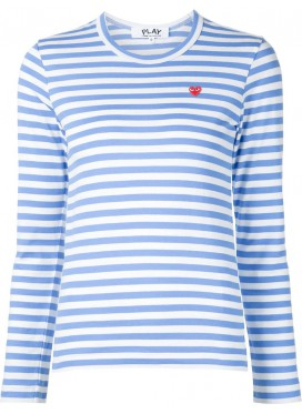 COMME DES GARCONS PLAY T-Shirt Women Striped Blue Small Red Heart