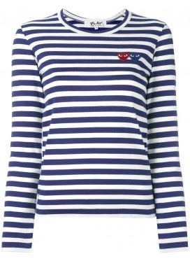 COMME DES GARCONS PLAY T-Shirt Women Navy/White Blue/Red Heart