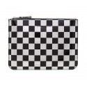 COMME DES GARÇONS WALLET OPTICAL CLUTCH SILVER/BLACK CHECK