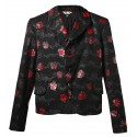COMME DES GARCONS BLACK WOOL JACKET WITH RED ROSES