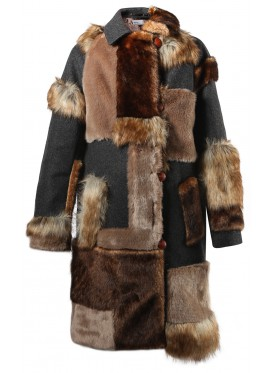 KOLOR TOP GREY COAT WITH FAUX FUR