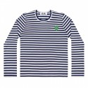 COMME DES GARÇONS PLAY T-SHIRT STRIPED NAVT/WHITW/GREEN HEART