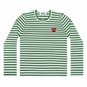 COMME DES GARÇONS PLAY GREEN AND WHITE STRIPED L/S T-SHIRT WITH RED HEART