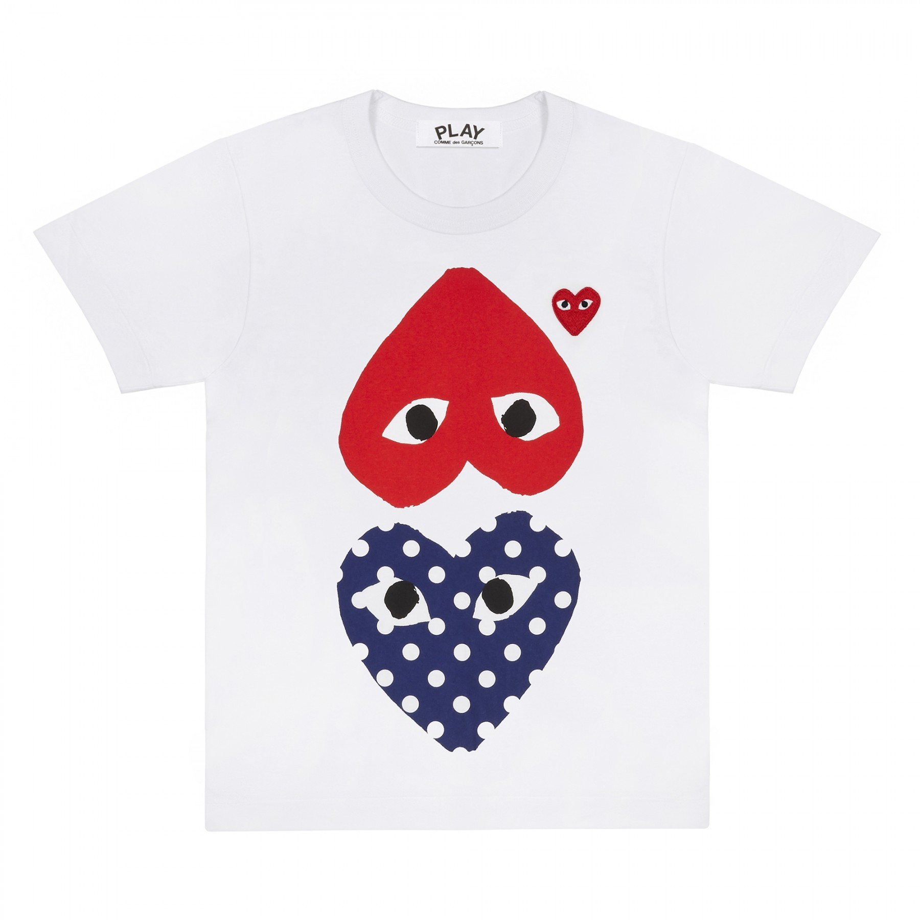 COMME DES GARÇONS PLAY - COMME DES GARÇONS PLAY WHITE WOMEN T-SHIRT WITH RED ce8e43f4a6