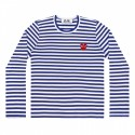 COMME DES GARÇONS PLAY BLUE AND WHITE STRIPED L/S T-SHIRT WITH RED HEART