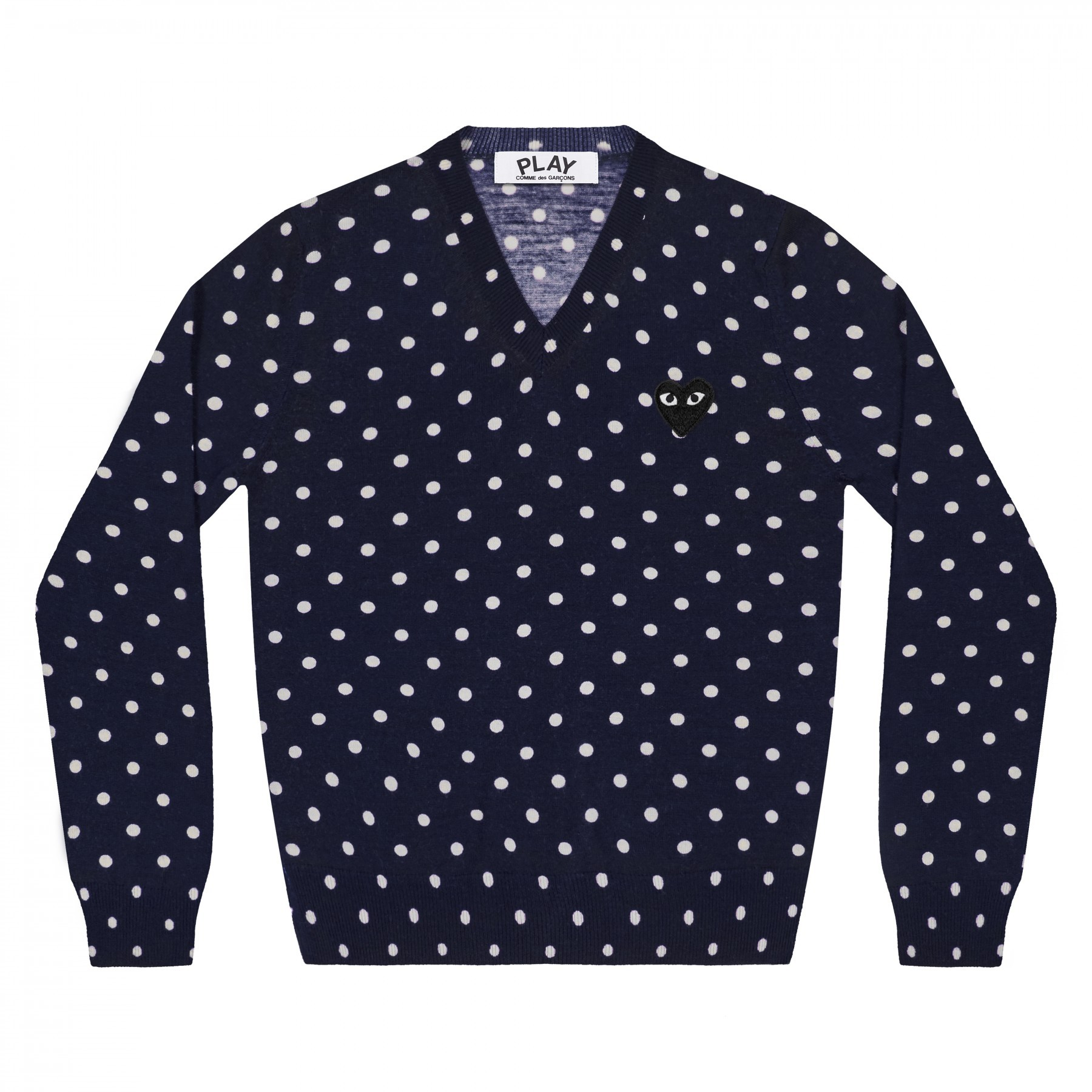 COMME DES GARÇONS PLAY - COMME DES GARÇONS PLAY POLKA DOT KNITTED NAVY SWEATER