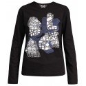COMME DES GARCONS BLACK L/S TSHIRT BLACK WITH BLUE PRINT
