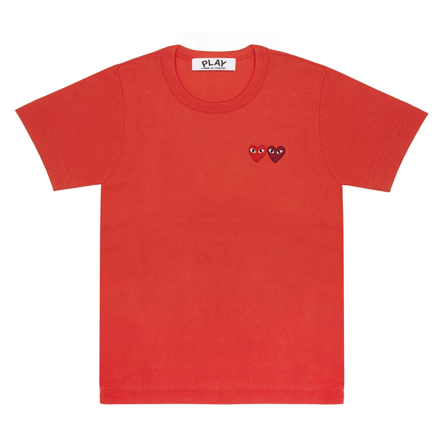 COMME DES GARÇONS PLAY - COMME DES GARÇONS PLAY T-SHIRT RED/TWO HEARTS