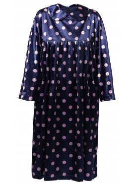 COMME DES GARCONS GIRL NAVI VELVET POLKA DOT DRESS