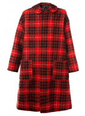 COMME DES GARÇONS TRICOT RED CHECKED COAT