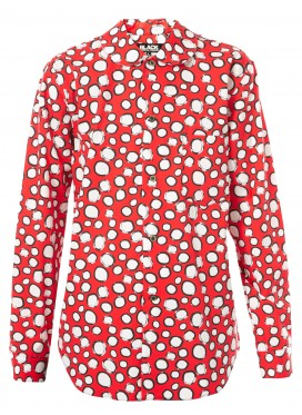 COMME DES GARCONS BLACK BLOUSE WITH RED DOTS