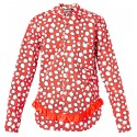 COMME DES GARCONS BLACK RED DOT SHIRT WITH RUFFLES