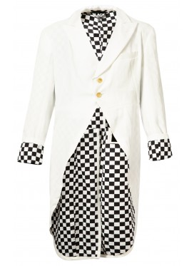 COMME DES GARCONS BLACK JACKET-FROCK WHITE AND CHECK