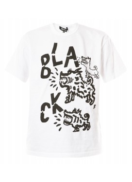 COMME DES GARCONS BLACK TSHIRT WHITE WITH BLACK LOGO PRINT