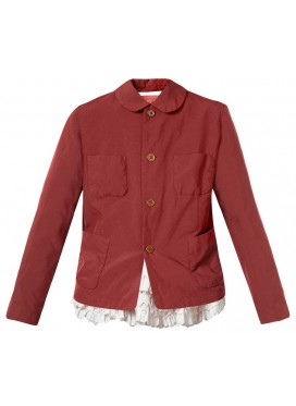 COMME DES GARCONS GIRL BOURGUNDY JACKET WITH BROAD