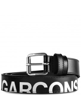 COMME DES GARÇONS  WALLET HUGE LOGO LEATHER BELT IN BLACK