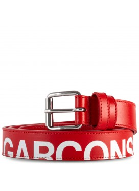 COMME DES GARÇONS  WALLET HUGE LOGO LEATHER BELT BLACK IN RED