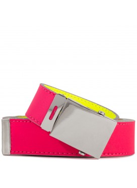 COMME DES GARÇONS  WALLET SUPER FLUO LEATHER BELT  PINK/YELLOW