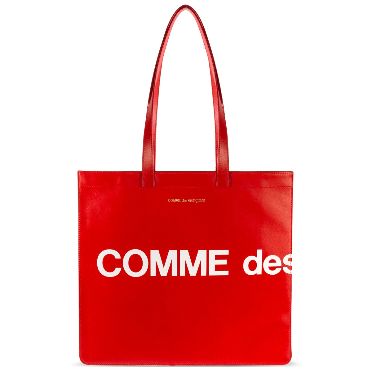 COMME DES GARÇONS WALLET - COMME DES GARÇONS WALLET HUGE LOGO LEATHER TOTE BAG RED IN RED