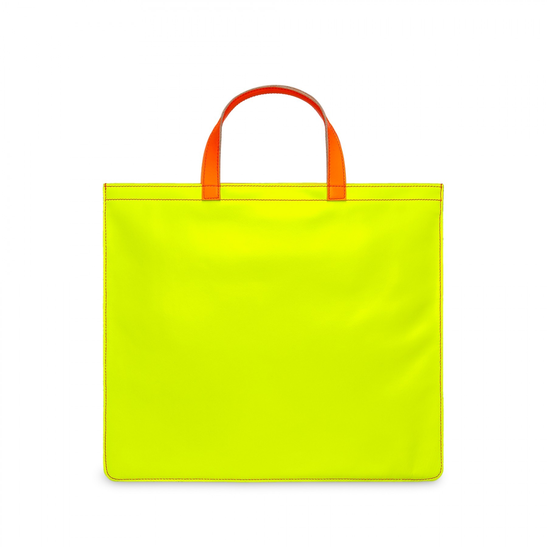 COMME DES GARÇONS WALLET - COMME DES GARÇONS WALLET SUPER FLUO LEATHER TOTE BAG PINK/YELLOW