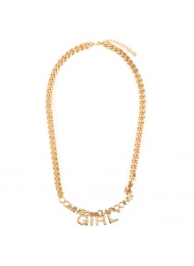 COMME DES GARCONS GIRL PENDANT GOLD TONE CHAIN KOGO NECKLACE IN GOLD