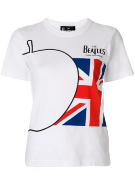 COMME DES GARCONS x THE BEATLES  WHITE T-SHIRT WITH APPLE AND BRITISH FLAG