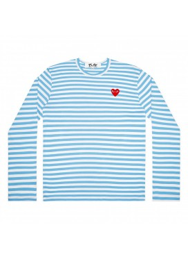 COMME DES GARCONS PLAY T-Shirt Women Striped Small Red Heart