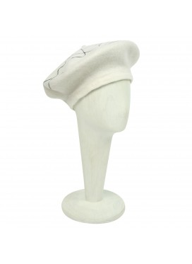 HOUSE OF FLORA BERET SCRIBBLE WHITE