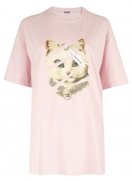 SUE UNDERCOVER PINK T-SHIRT PRINT CAT