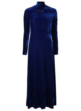 MELITTA BAUMEISTER SLIM NECKLACE BLUE VELVET DRESS