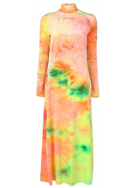 MELITTA BAUMEISTER SLIM NECKLACE RAINBOW VELVET DRESS