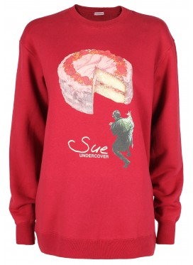 SUE UNDERCOVER RED PRINT CAKE SWEATSHIRT