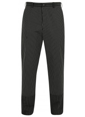 COMME DES GARCONS BLACK STRIPED MANDARIN TROUSERS