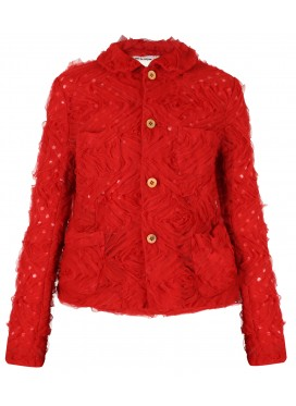 COMME DES GARCONS GIRL RED JACKET WITH APPLIQUE