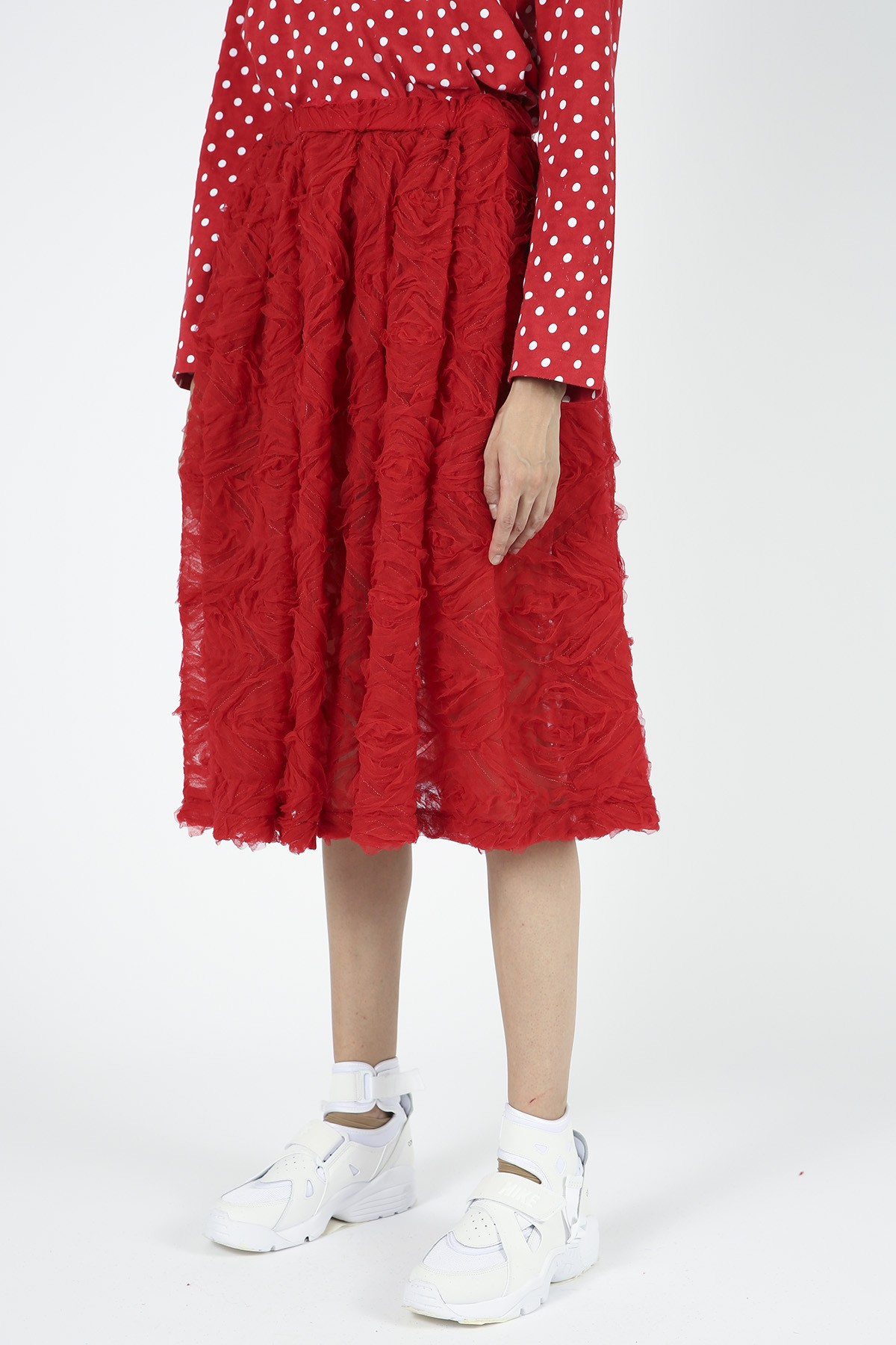 COMME DES GARCONS GIRL - COMME DES GARCONS GIRL RED SKIRT WITH APPLIQUE