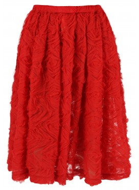COMME DES GARCONS GIRL RED SKIRT WITH APPLIQUE