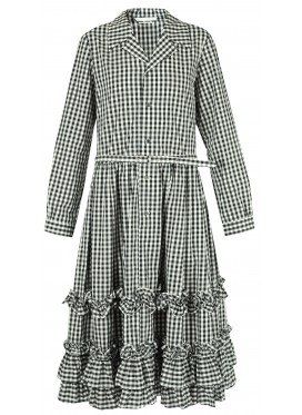 COMME DES GARCONS GIRL LONG SLEEVE CHECK DRESS