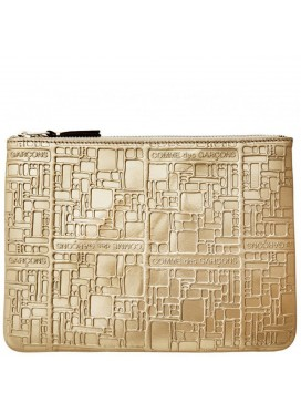 COMME DES GARÇONS WALLET LOGOTYPE EMBOSSED POUCH WALLET GOLD IN GOLD